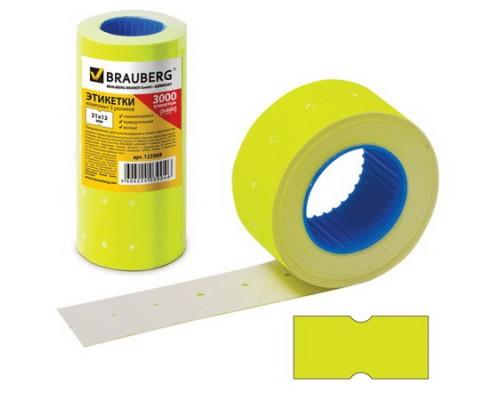 Этикет-лента 21х12мм BRAUBERG прямоугольная, желтая