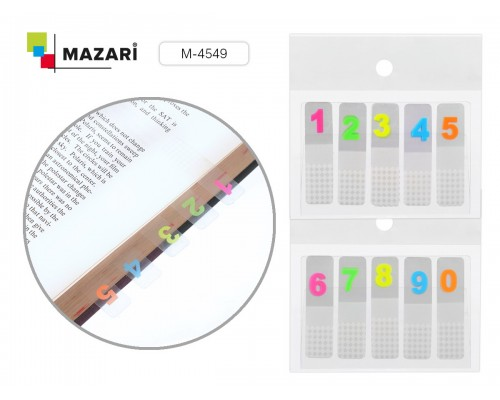 Закладки самоклеящиеся 44x12 мм по 20 листов прозрачные с цифрами