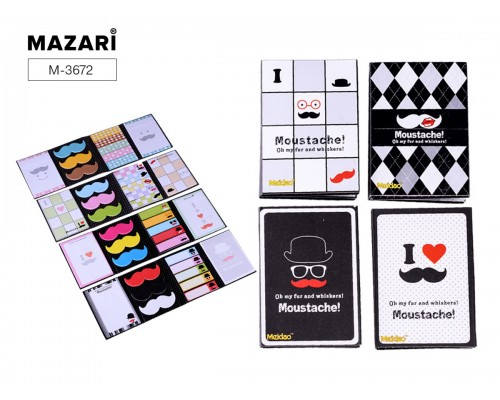 Закладки самоклеящиеся (5 блоков полос + 3 блока усов + 2 квадратных блока по 18 листов)