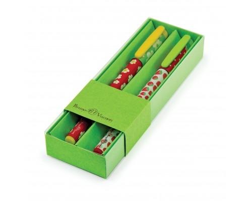 Ручка подарочная FunWrite Ромашки/Клубнички 0.5мм СИНЯЯ (зелёный футляр) набор 2шт.