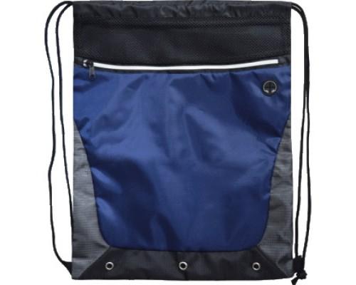 Мешок для обуви deVENTE 35х44 см, на веревочной завязке, черная с серым и синим для мальчика