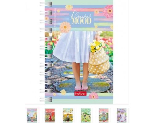 Записная книжка А7 80 листов на спирали Цветочное настроение