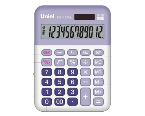 Калькулятор UD-152VL UNIEL 12 разрядов (СИРЕНЕВЫЙ)
